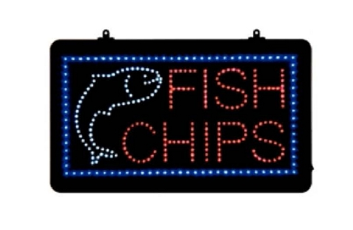 Fish and Chips LED Sign.