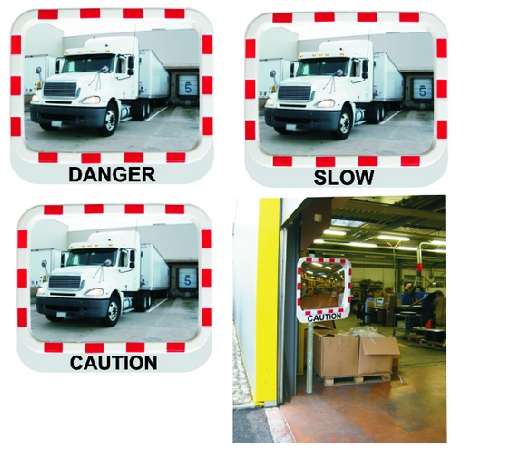 Industrial Safety Mirrors with Warning Message.