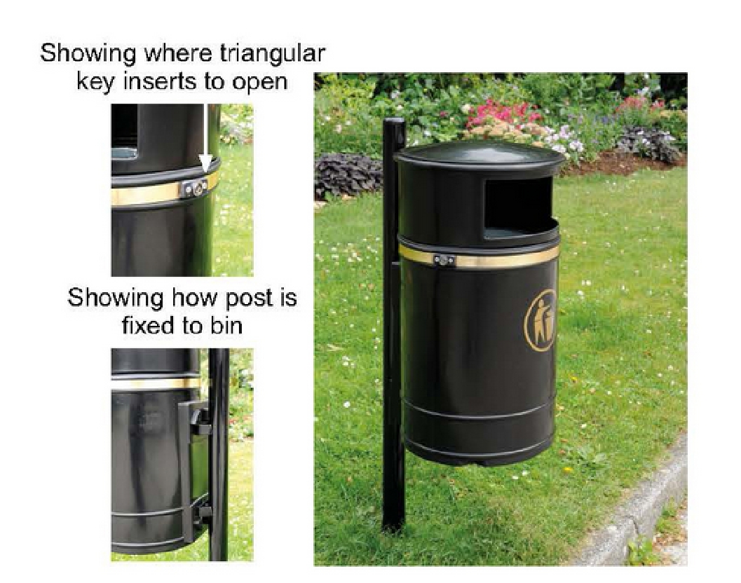 Morvan 40 Litre Litter Bin - Post Mounted.
